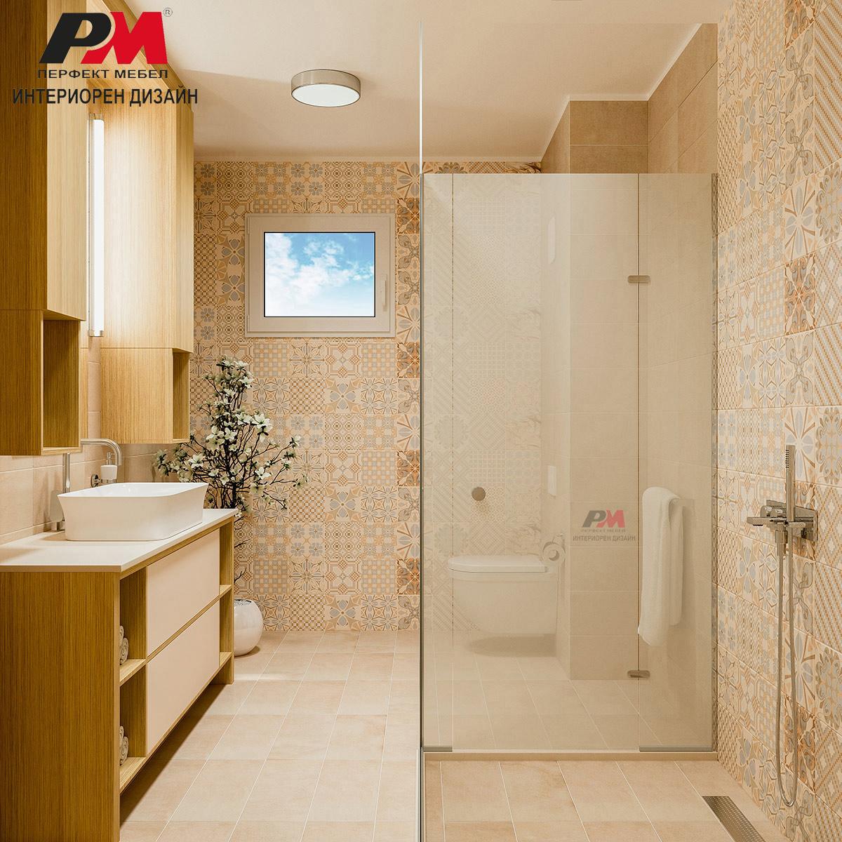 Красива баня в свежи нежни тонове и естесвен фурнир