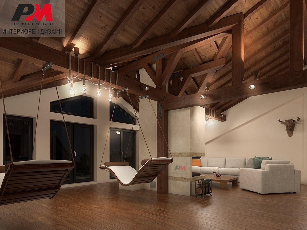 """Интериорен дизайн на просторно мансардно Лофт пространство в къща с отделена """"спа"""" зона"""