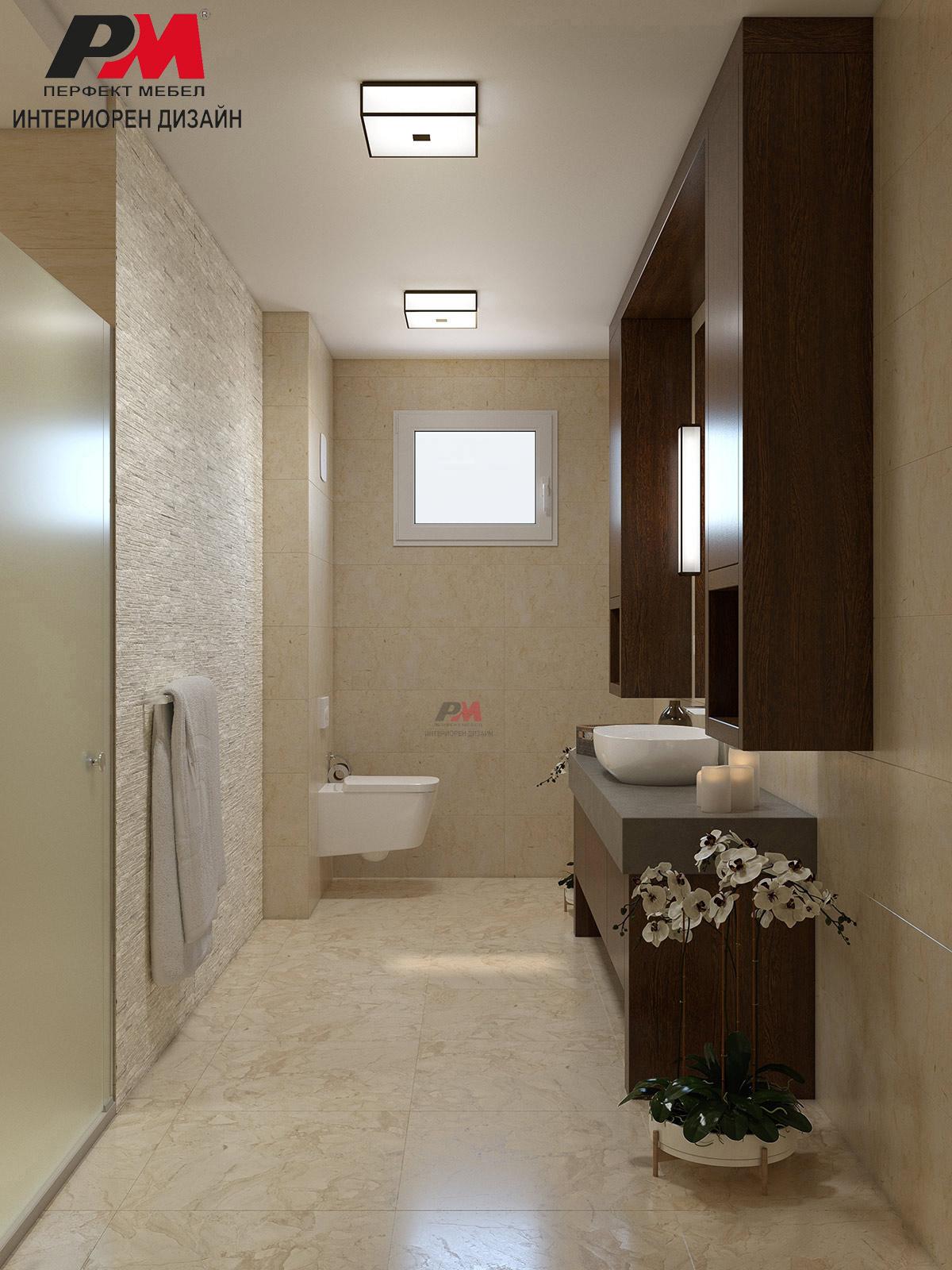 Елегантана визия в интериорния дизайн на голяма съвременна баня