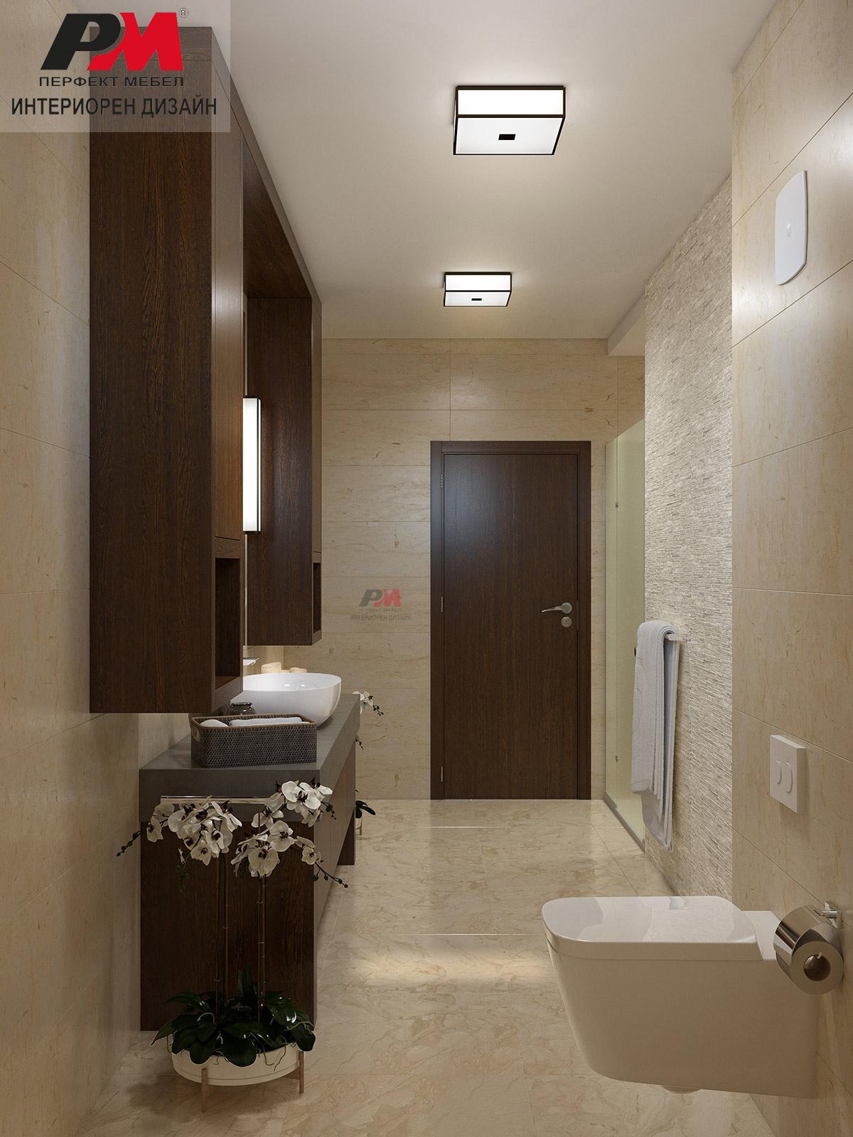 Интериорен дизайн на баня в стилно графично звучене