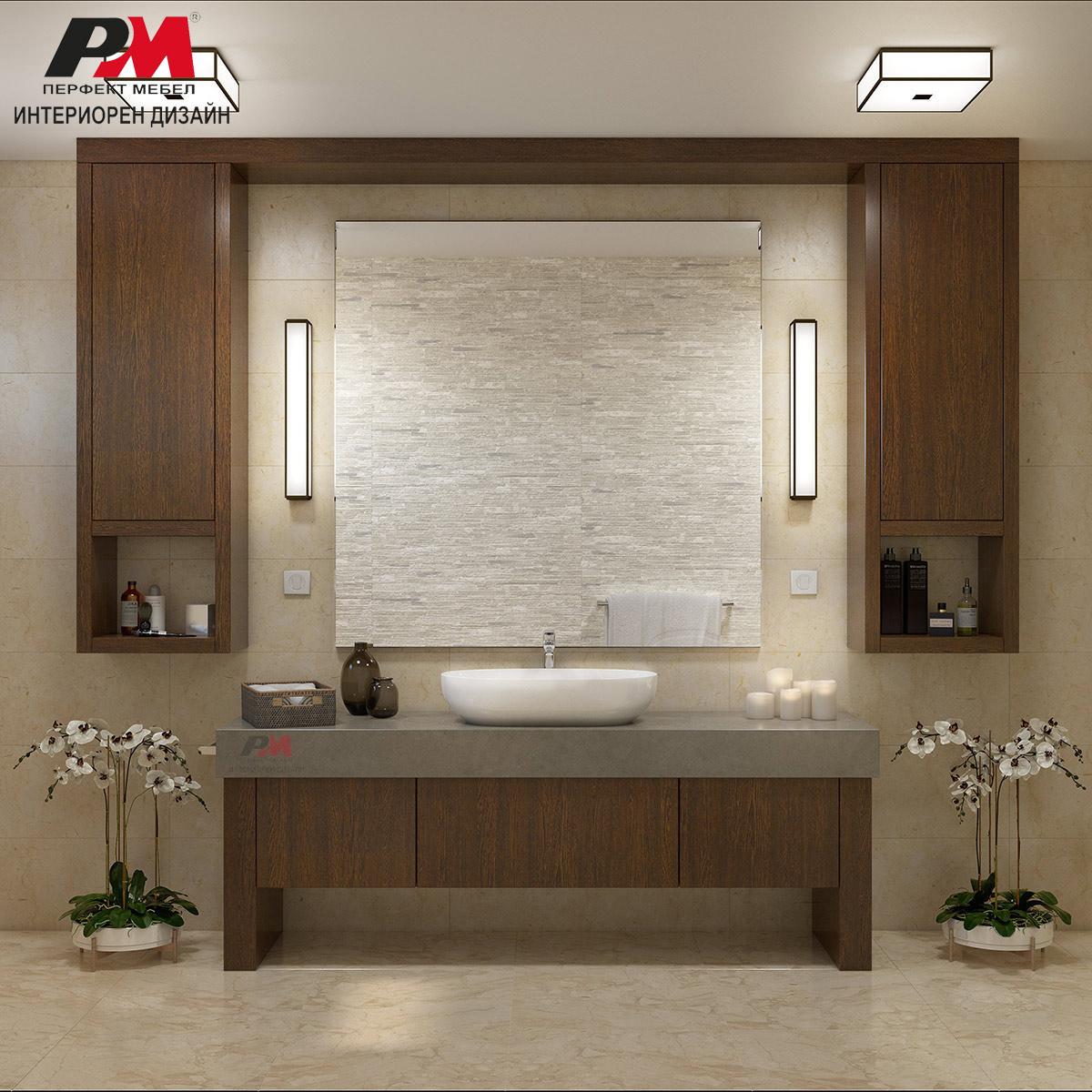 Луксозен и нтериорен дизайн и стилна графична линия в модерната баня