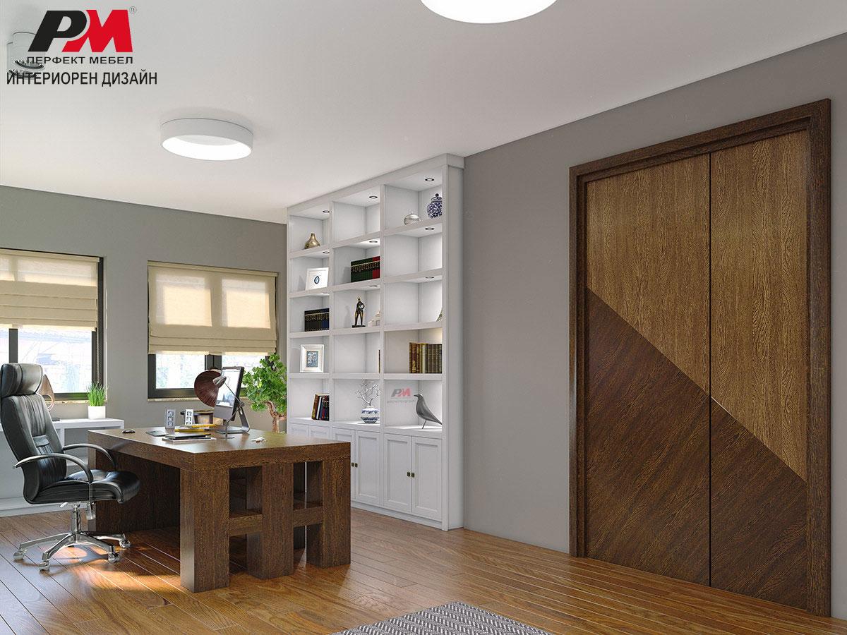 Лукс интериорен дизайн на кабинет в естествен фурнир