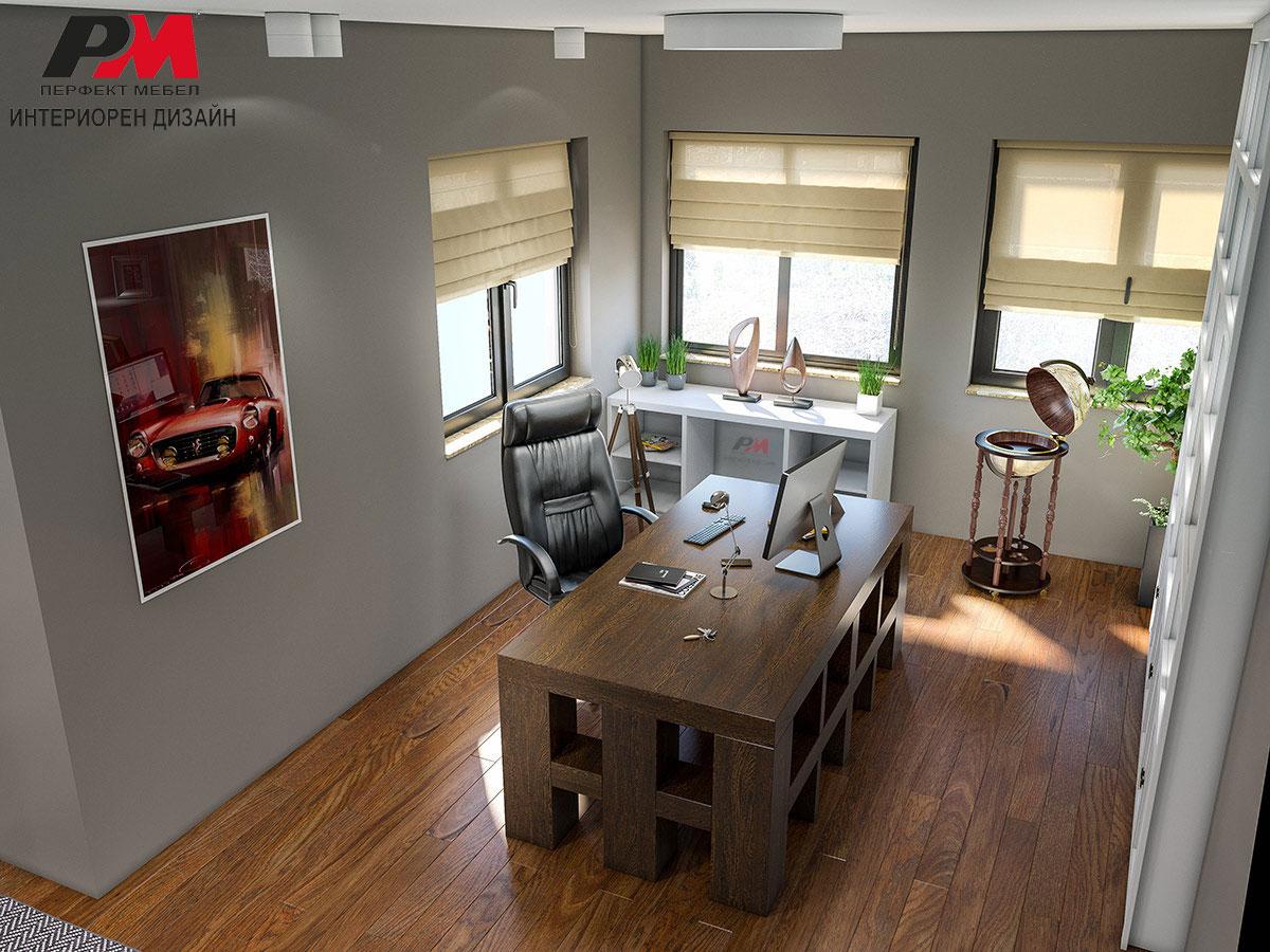 Разкош и висок стил на обзавеждане в голям частен кабинет в интериора на крайградска къща в близост до София