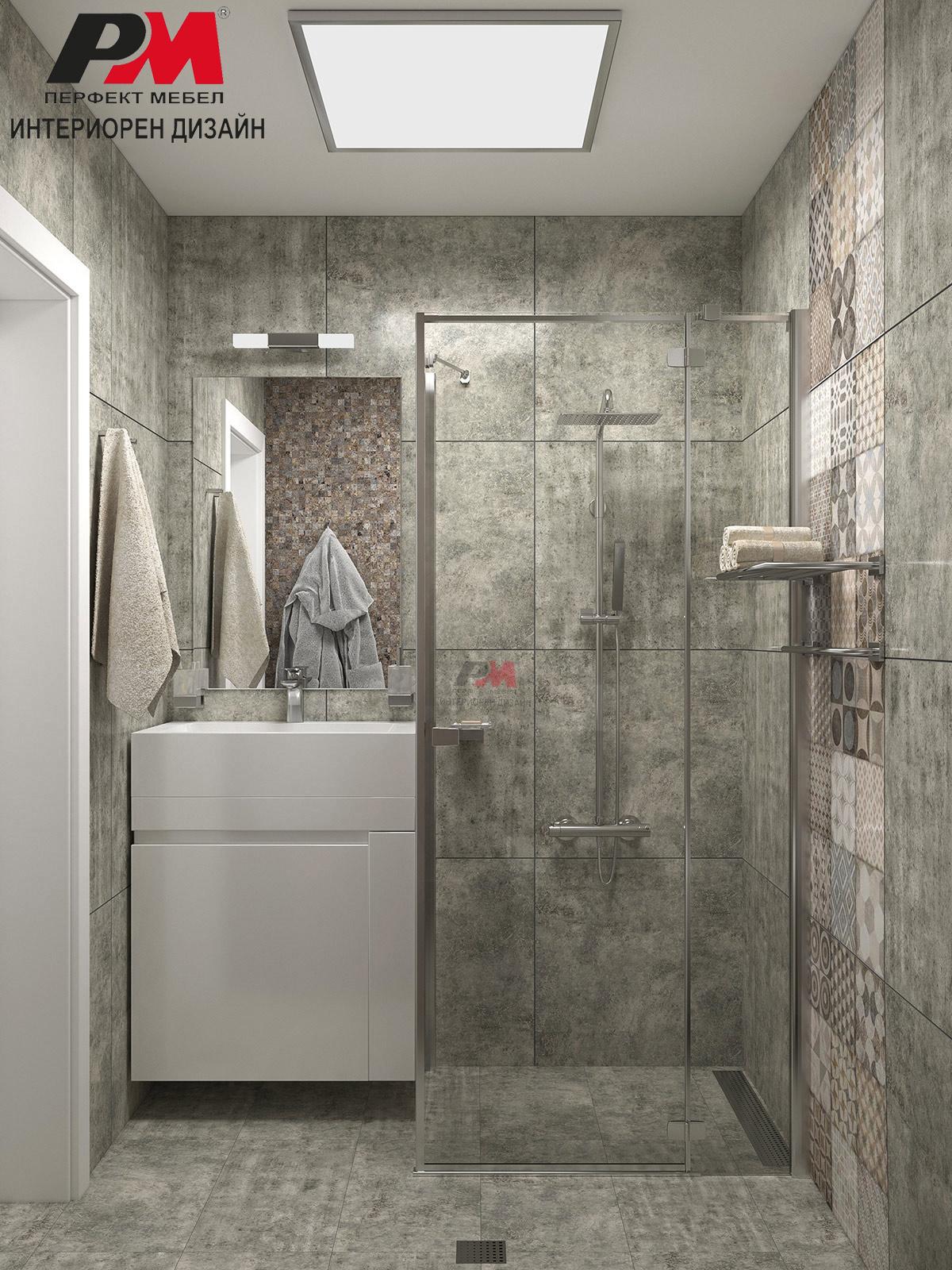 Интериорно решение на баня в монохроматични цветове