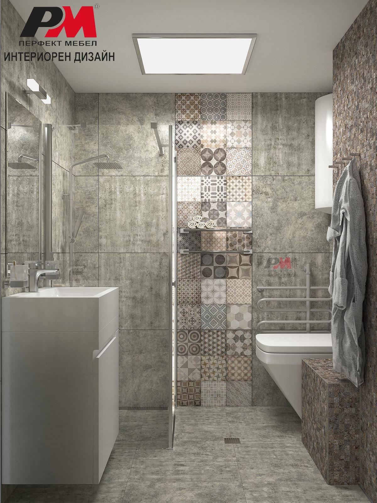 Небрежна геометрия в баня в индустриален стил