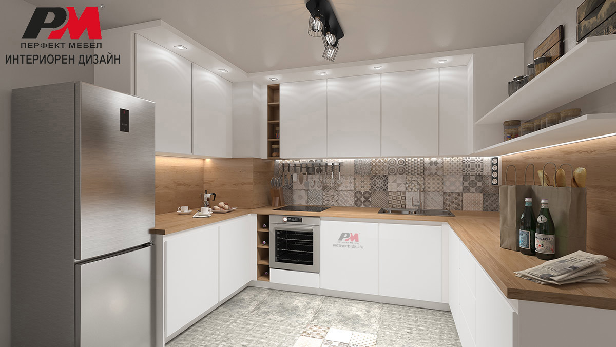 Неподпарвен модерен интериор на голяма п-образна кухня в артистично съвременно звучене