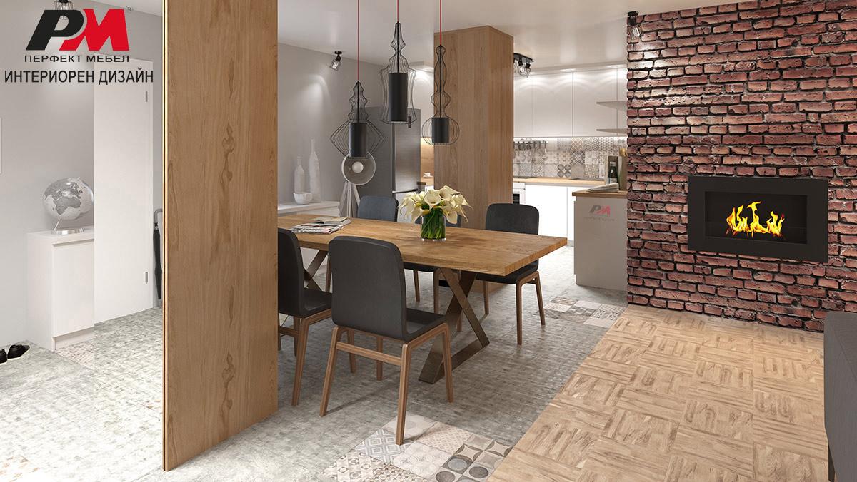 Красота и екстравагантност в интериорен проект на голяма функционална дневна с трапезария и кухня