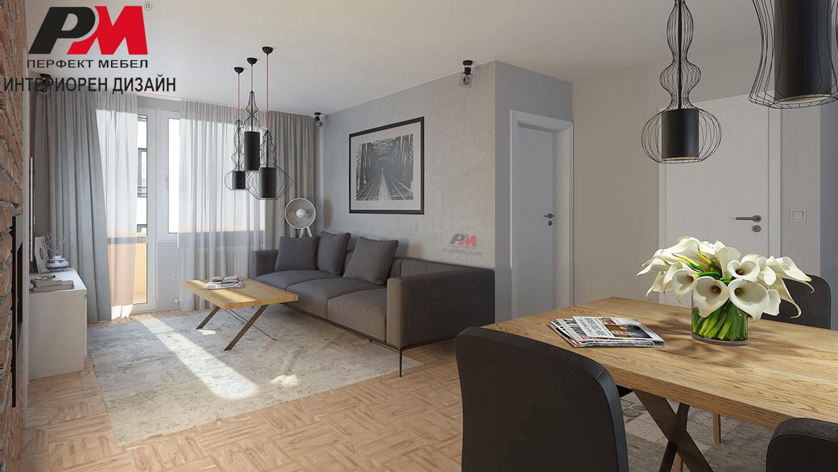 Интериорен проет на съвременно градско жилище с голяма преходна дневна