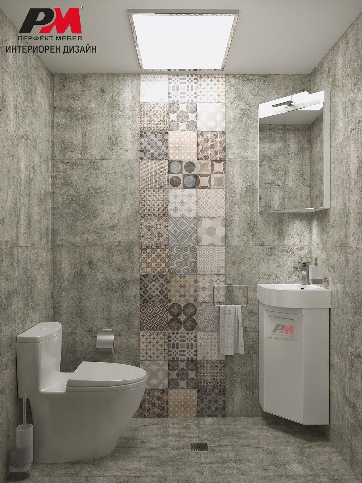 Квадратна заигравка в баня в индустриален стил