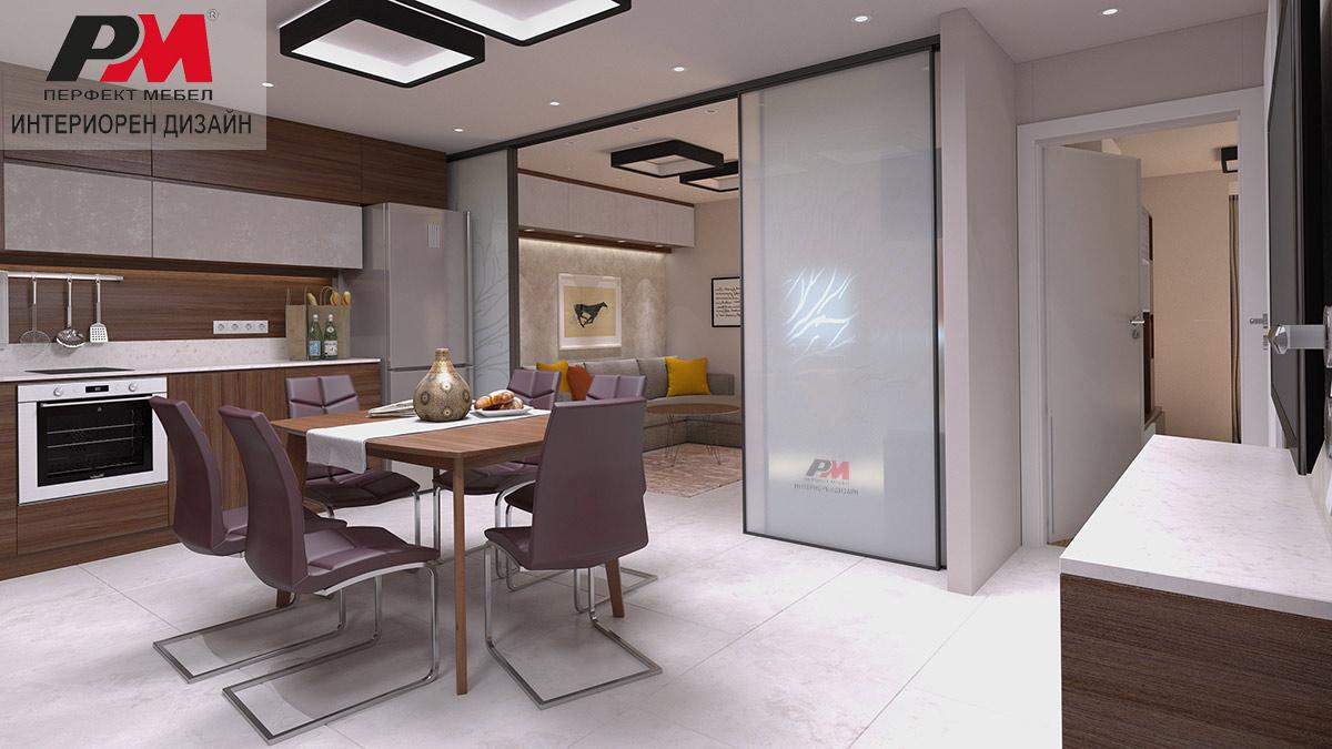 Стилен интериорен дизайн на дневна, кухненски бокс и трапезария