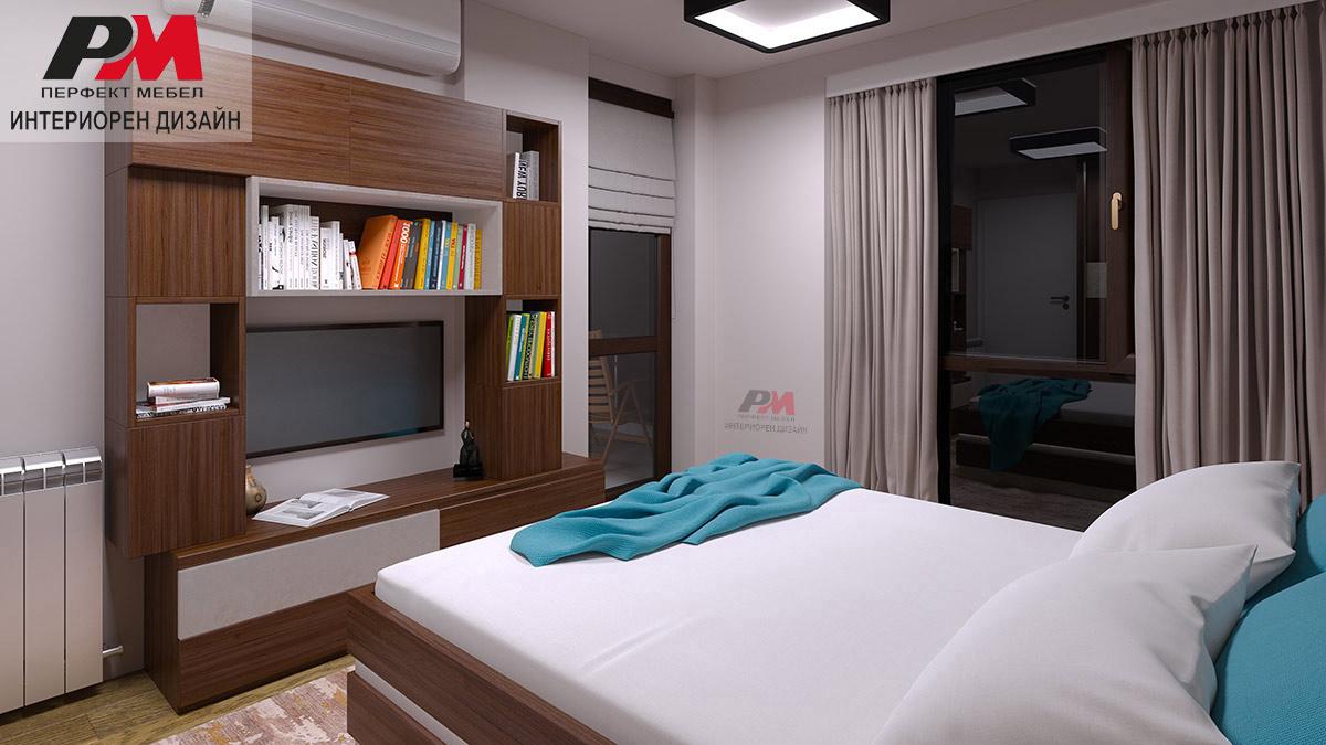 Акцентна правоъгълна форма в дизайна на стилна спалня