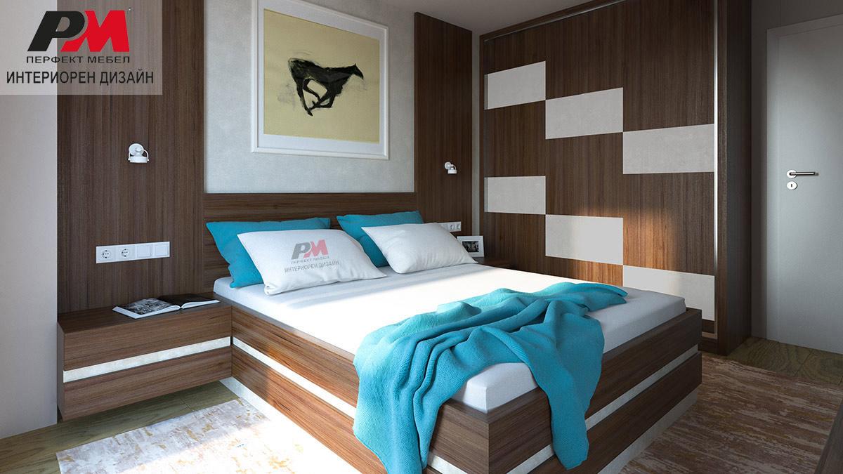 Уютна атмосфера в спалното помещение с преобладаващ дървесен декор