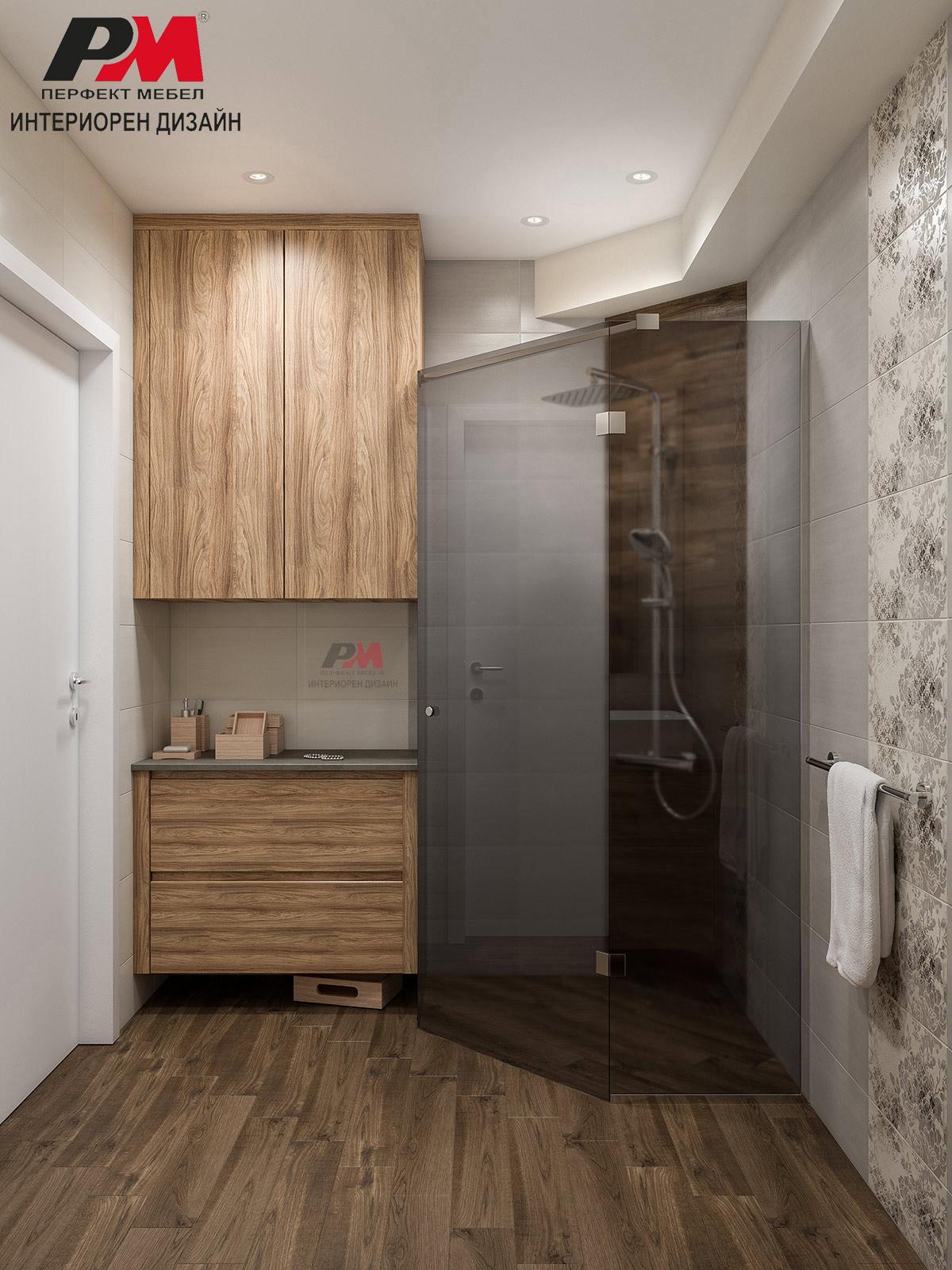 Стилен интериорен дизайн на баня с акцентен дървесен декор.