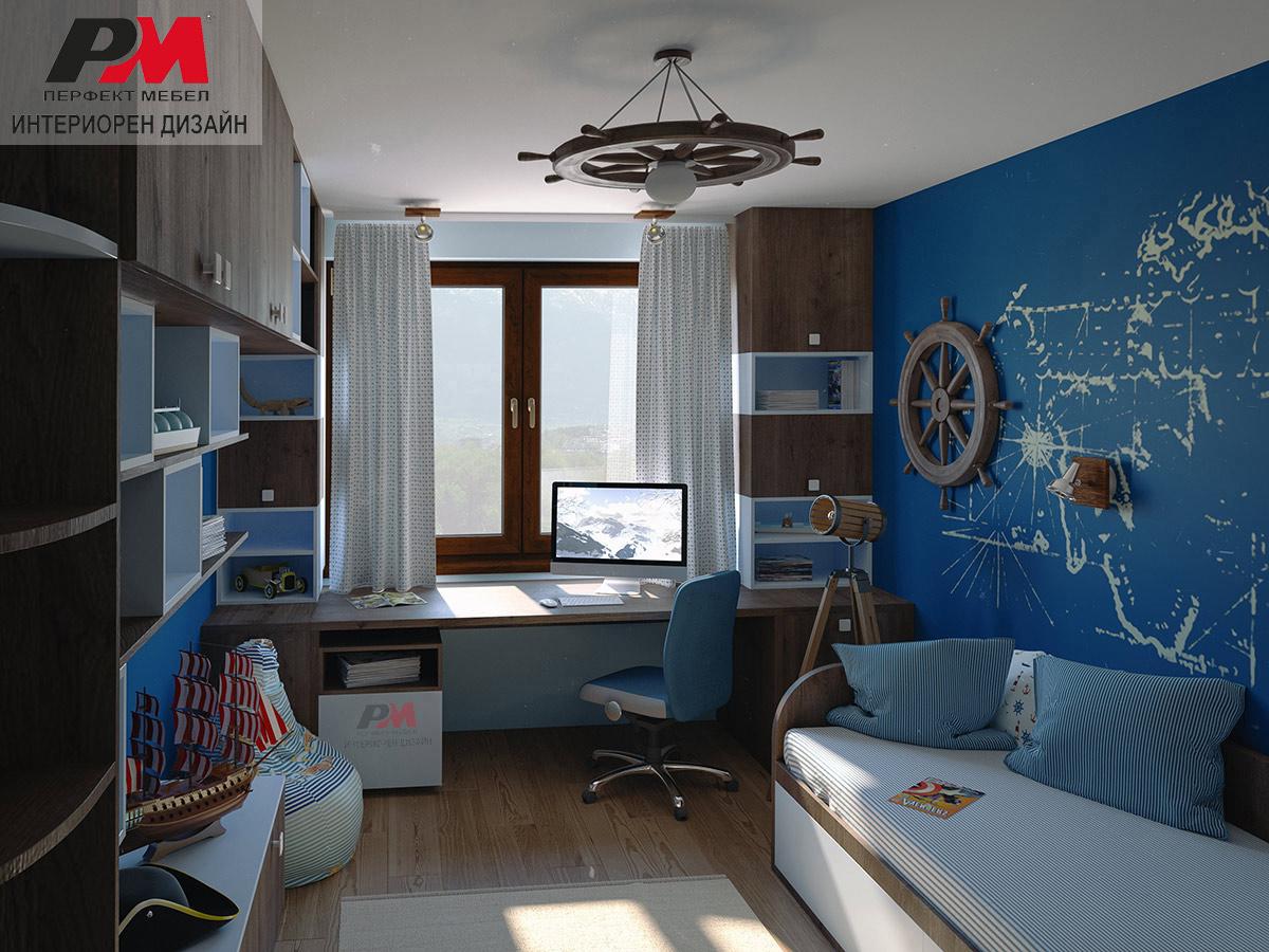Стилен интериорен дизайн на момчешка детска стая с морски мотиви