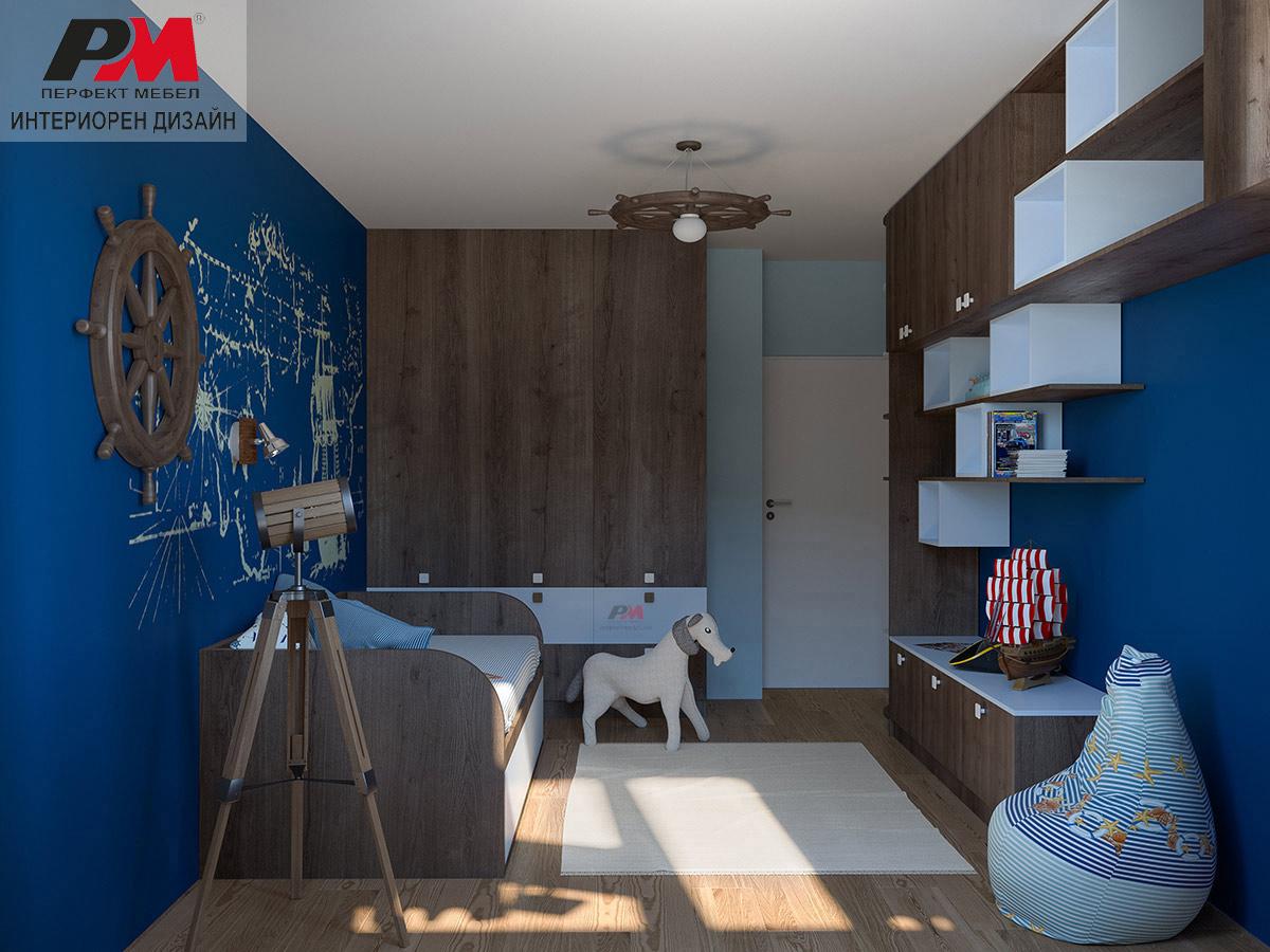 Модерен морски дизайн на мъжко спално помещение
