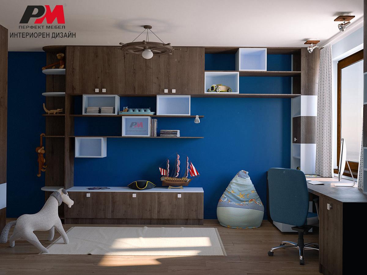 Модерен интериорен дизайн на момчешка детска стая с морски мотиви