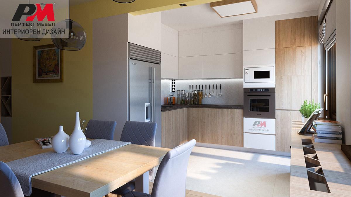 Стилен интериорен дизайн на кухня с трапезария в светли тонове и дървесен декор