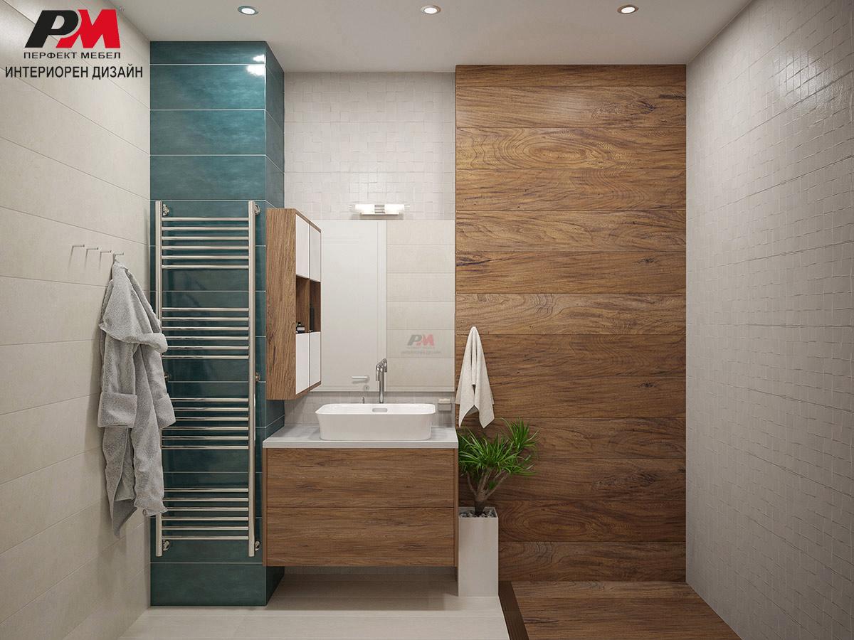 Съвременен интериорен проект на баня в красива цветова гама