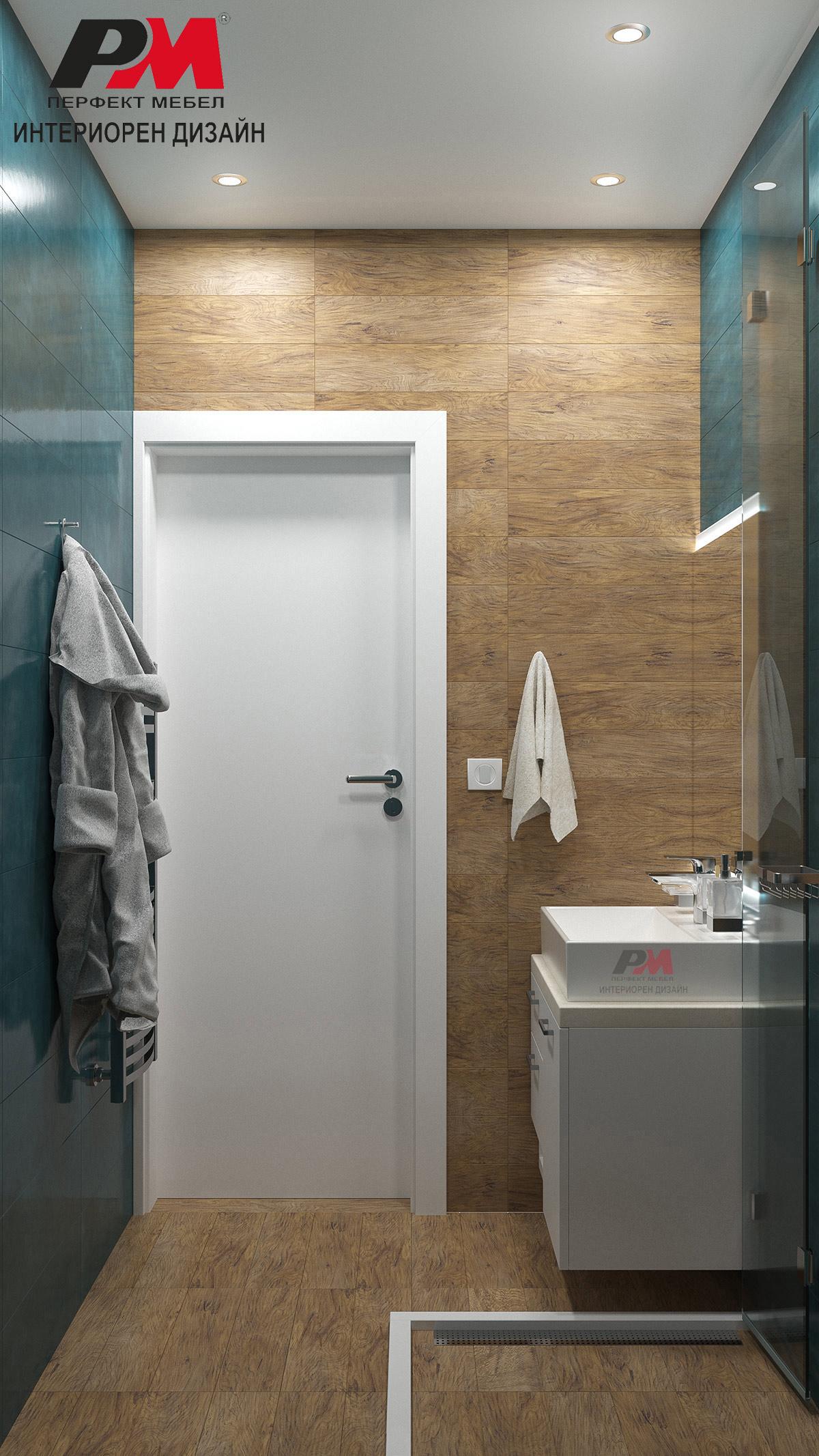 Уют и топло звучене в съвременен интериорен проект на баня