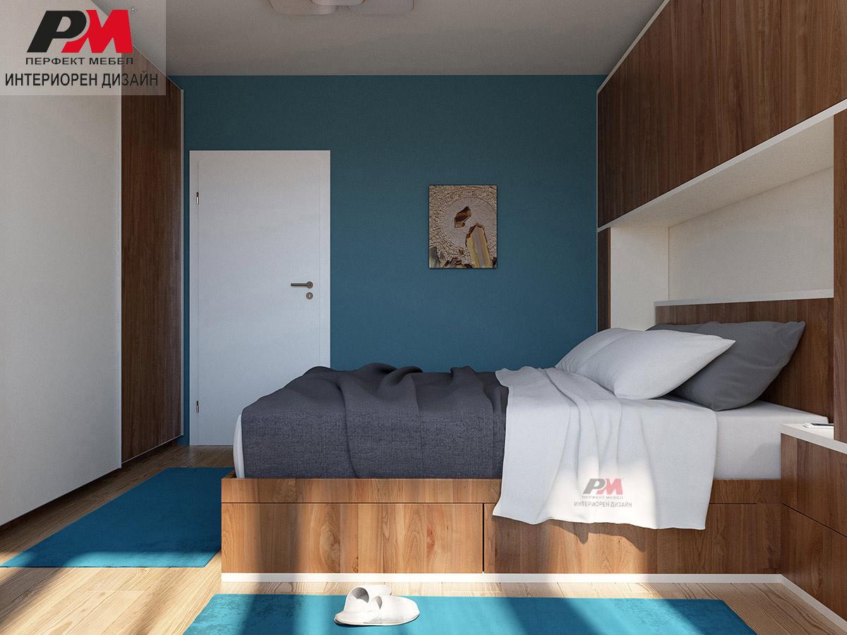 Интериорен проект на спалня с преобладаващи дървесни тонове в съчетание с крем и тюркоаз