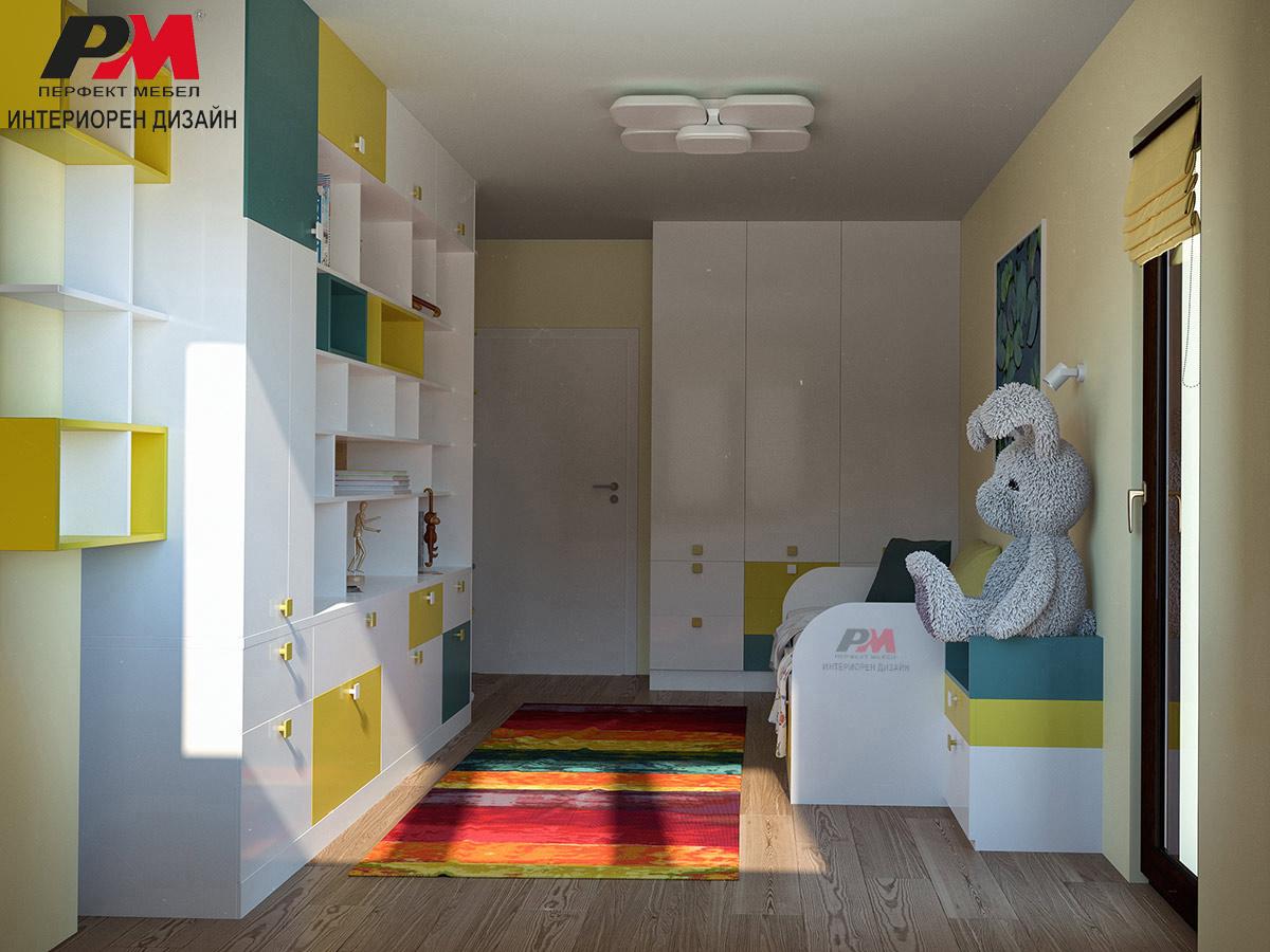 Детска стая със съвременен имнтериорен дизайн в свежи забавни тонове