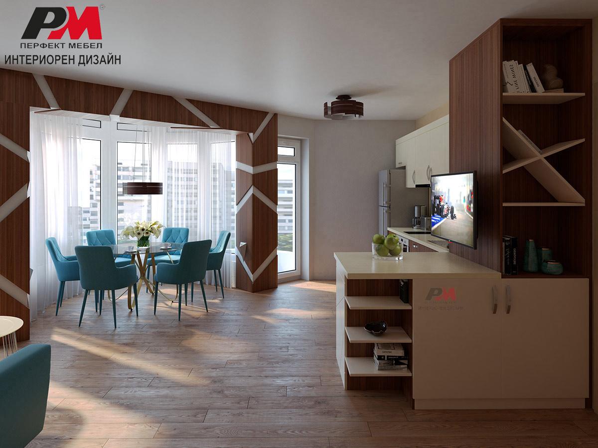 Красив и стилен интериорен дизайн на дневна в модерно градско жилище