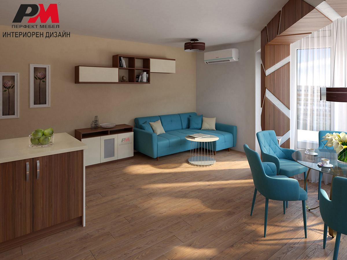 Красив и стилен интериор на дневна с кухненски бокс и трапезария.