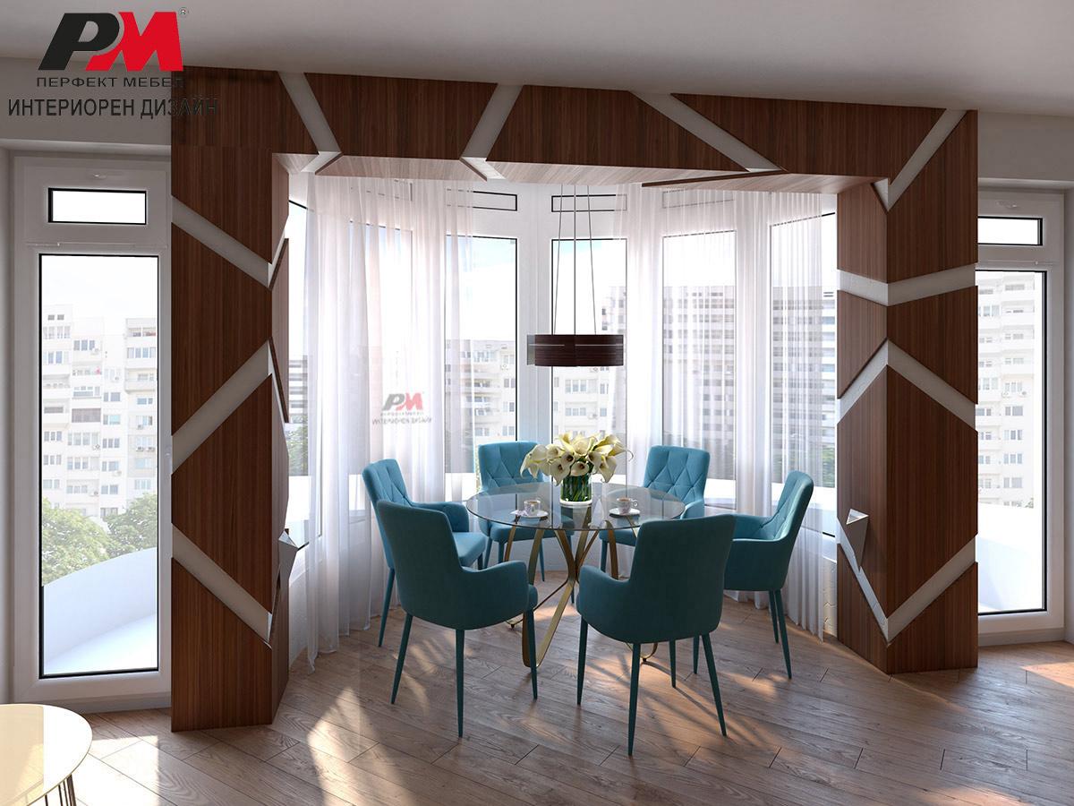 Съвременен и изтънчен  интериорен дизайн на дневна нежни пастелни тонове