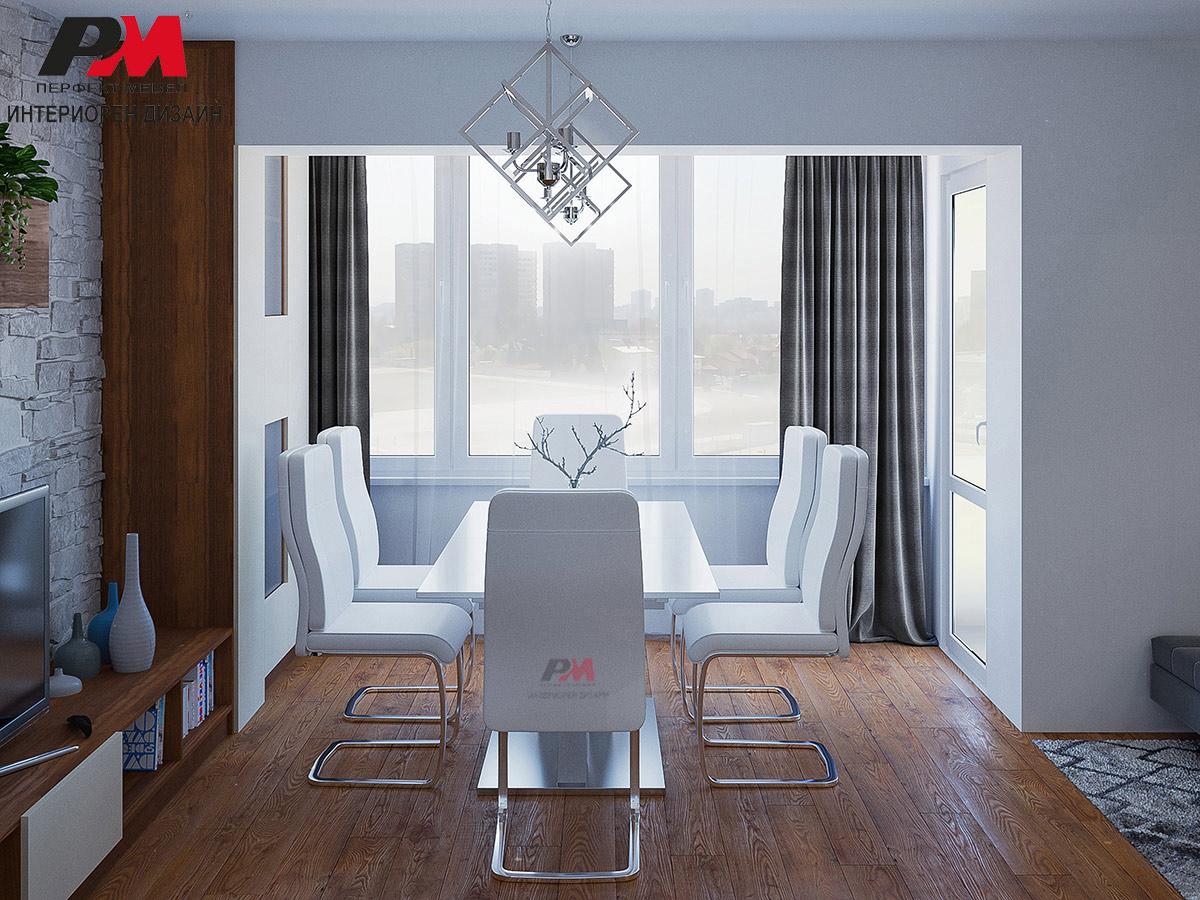 Елегантен дизайн на дневна в преобладаващо бяло и стилни дървесни тонове