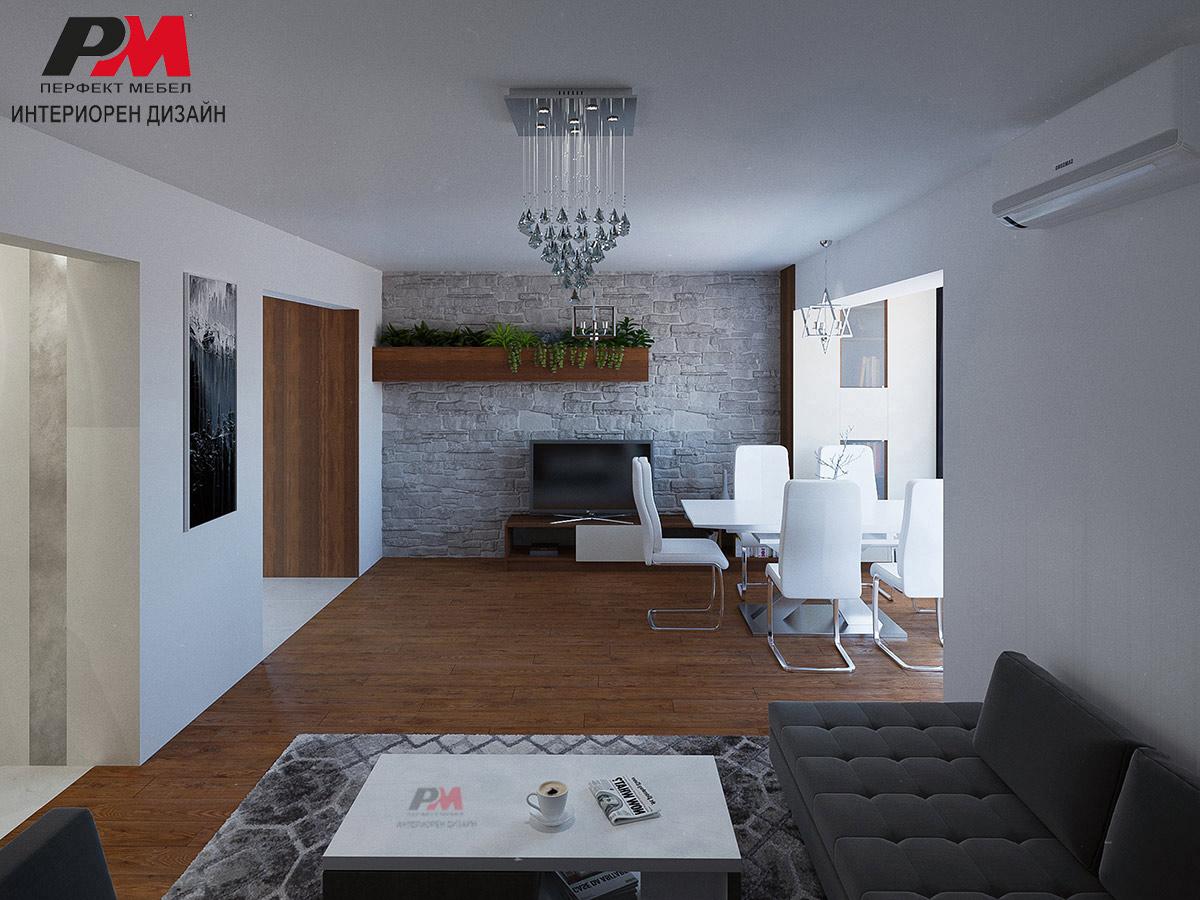 Модернистична дневна в семпло цветово решение и дизайнерски акценти