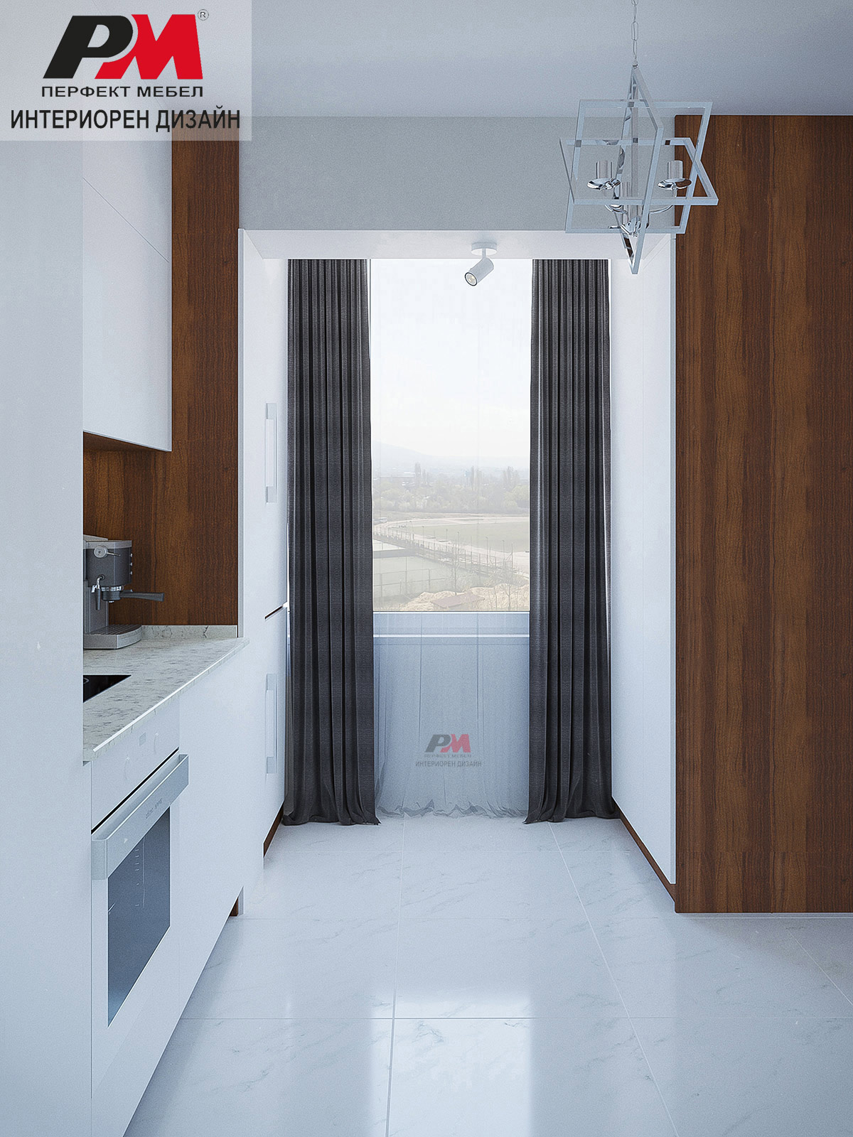Интериорен дизайн на кухня в модерен стил.