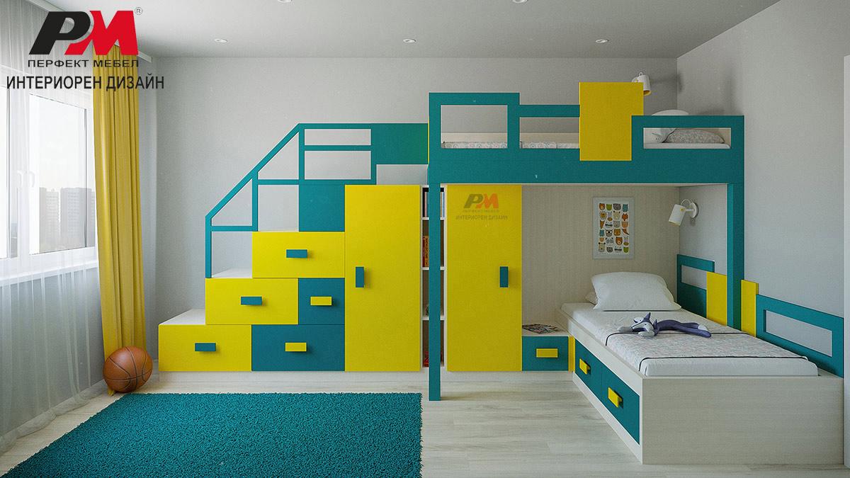 Забавен интериорен дизайн на детска стая в свежи тонове