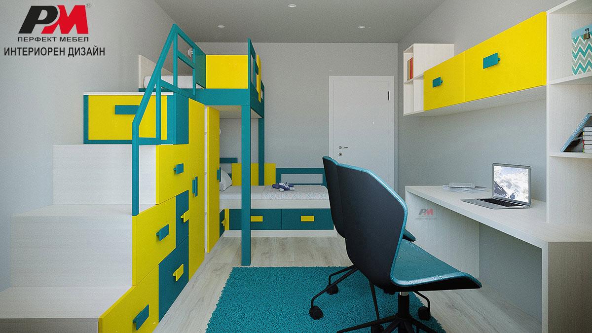Интериорен дизайн на детска стая в контрастни ярки цветове