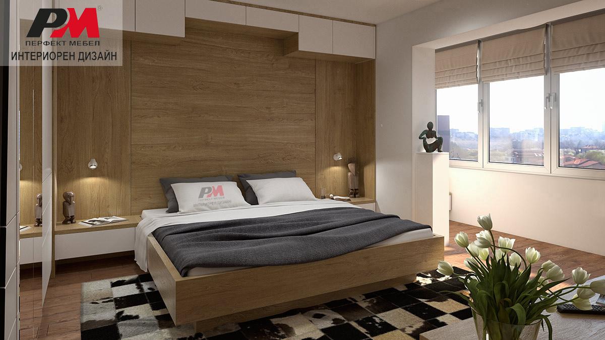 Модерен и екстравагантен интериор на родителска спалня в преобладаващи дървесни тонове и бяло