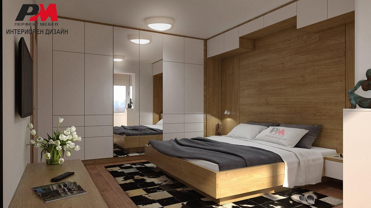 Завладяващ дизайнерски интериор на спалня със стилно и уютно звучене