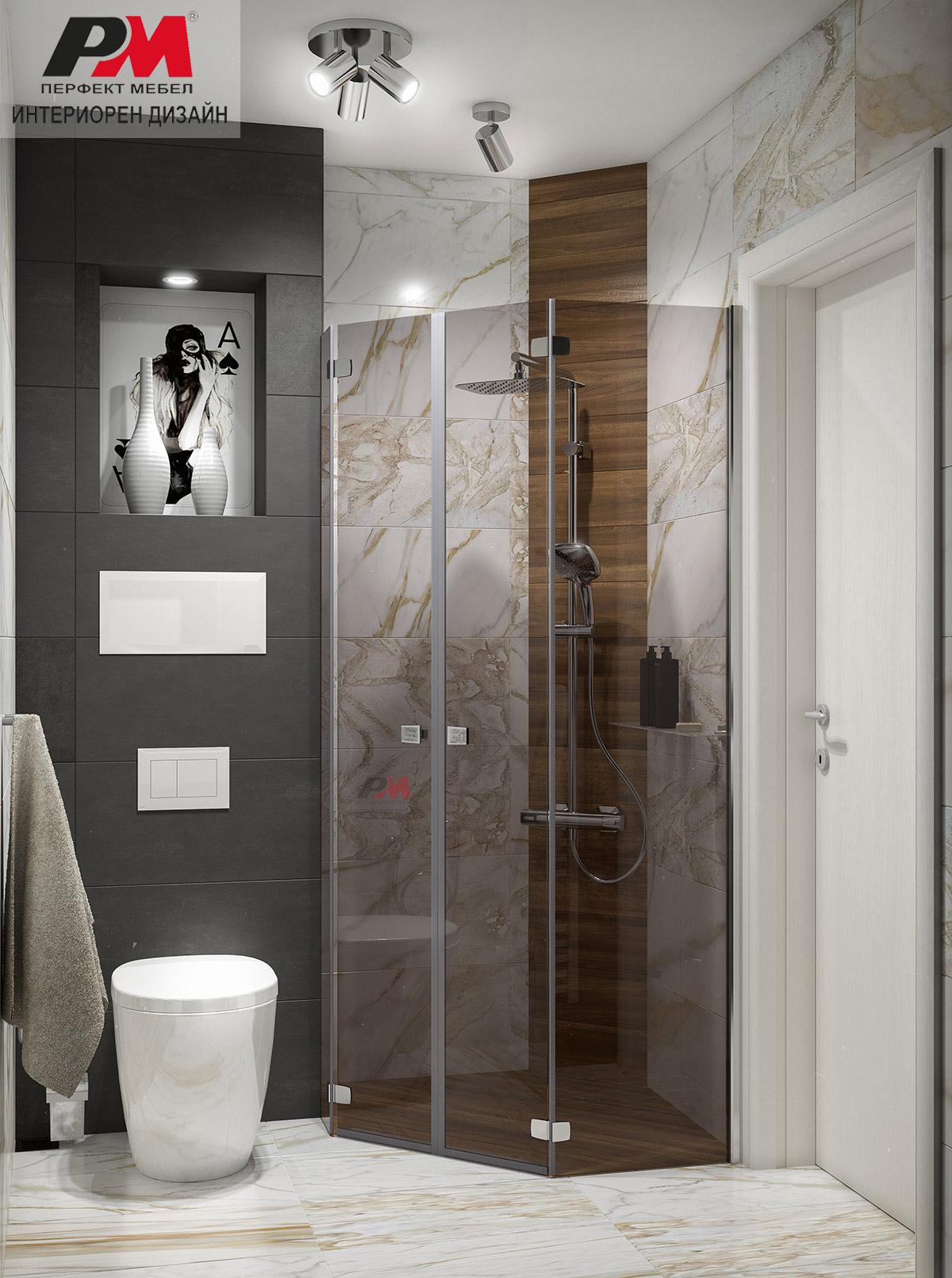 Истински стил и лукс в съвременния интериор на градска баня в модерни тонове