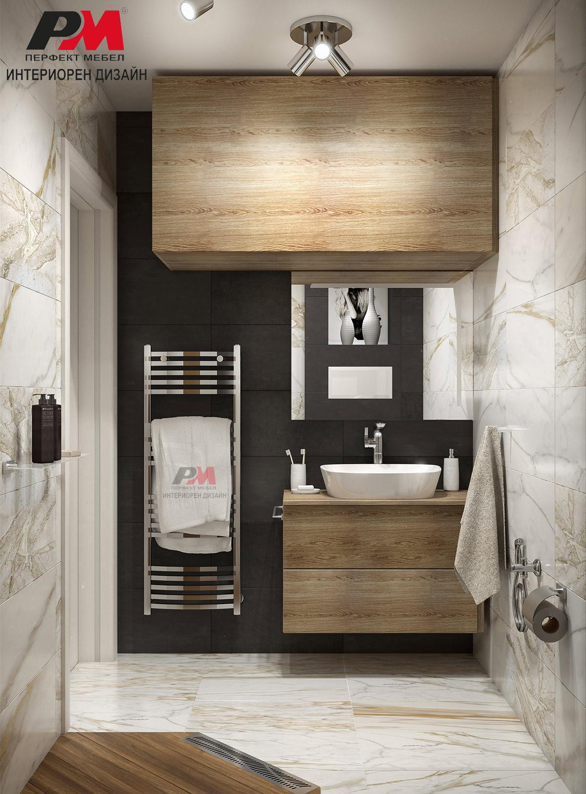 Красив интериорен дизайн на стилна и елегантна баня издържана в модерни тонове