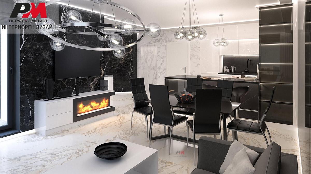 Изискан интериорен дизайн на дневна с кухненски бокс