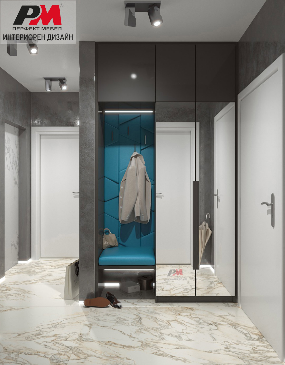 Модерно интериорно решение за коридорното помещение