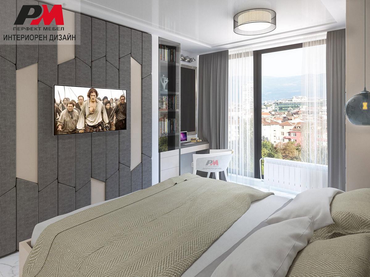 Интериор на спално помещение в модерен стил.