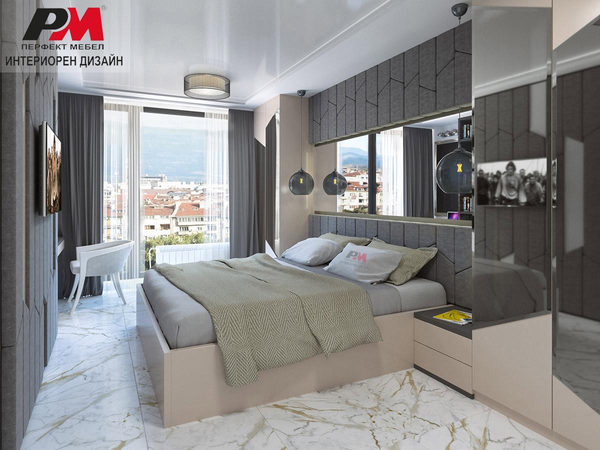Интериорен проект на спалня, излъчваща грациозност