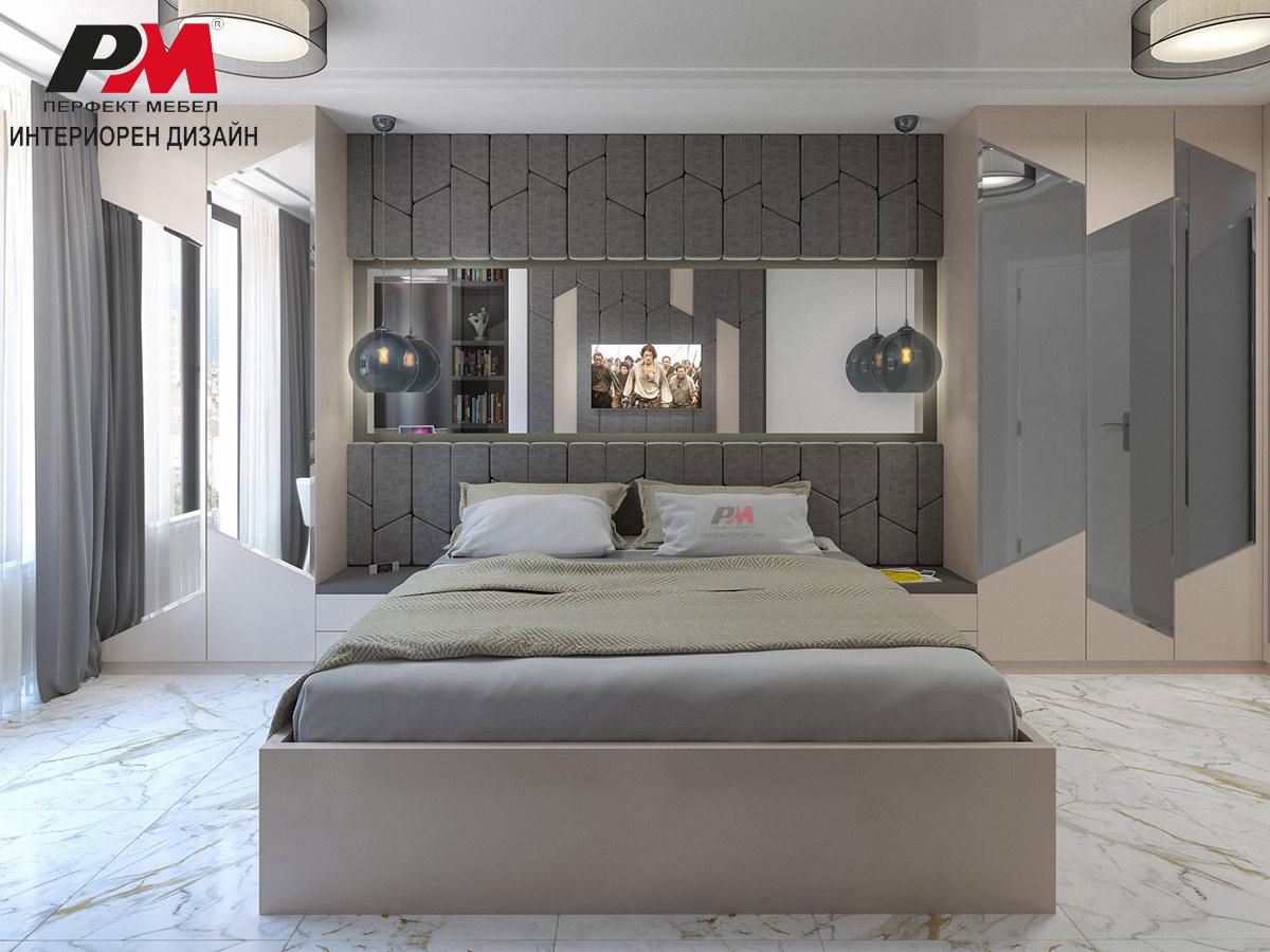 Интериорен дизайн на спалня в модерен стил.