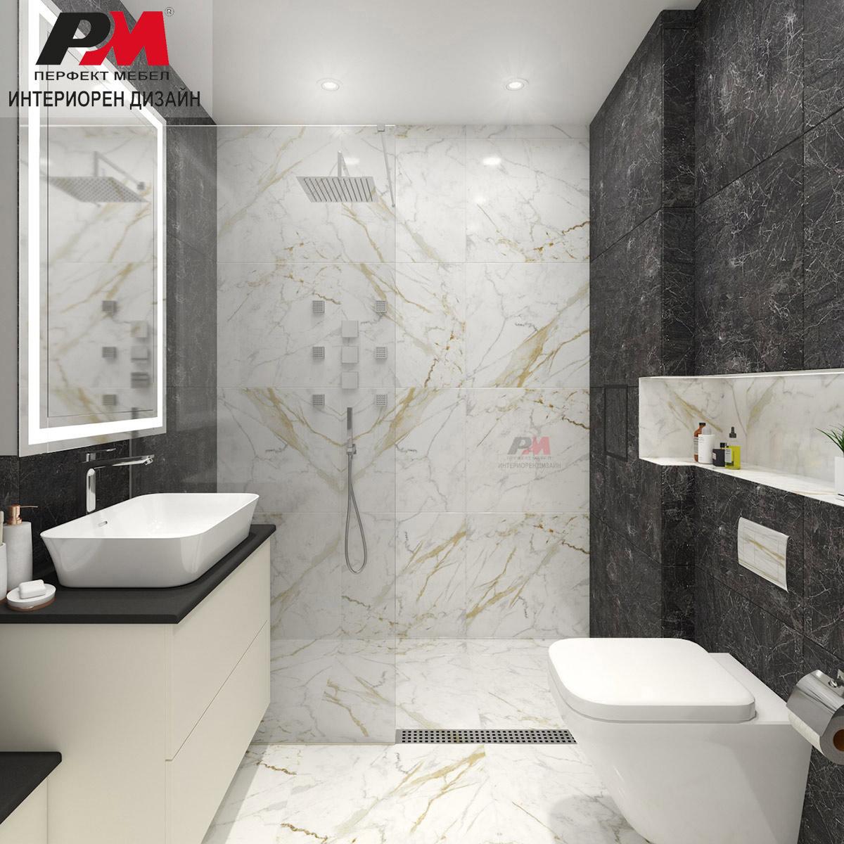 Интериор на модерна баня с мраморен акцент