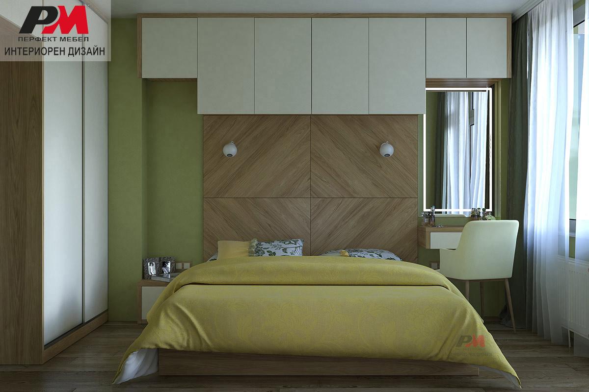 Модерна спалня в съвременен стил, въздействаща успокояващо