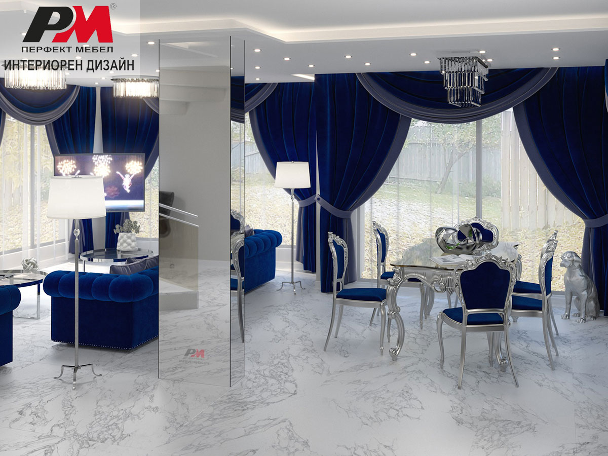 Луксозна декоративност в дизайна на мебелите в голямо жилищно помещение.