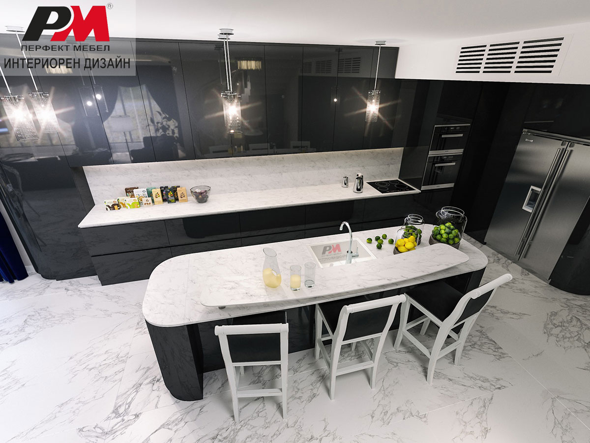 Изящен дизайн на кухня в модерен интериорен стил в многофункционално помещение.
