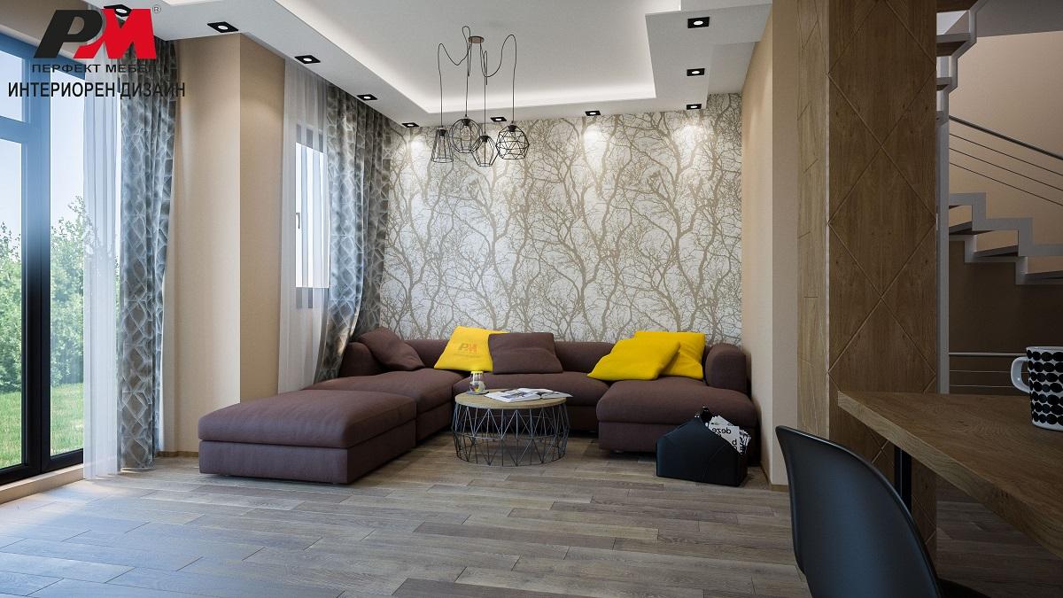 Луксозен интериорен дизайн на дневна в топли тонове и естествен фурнир и