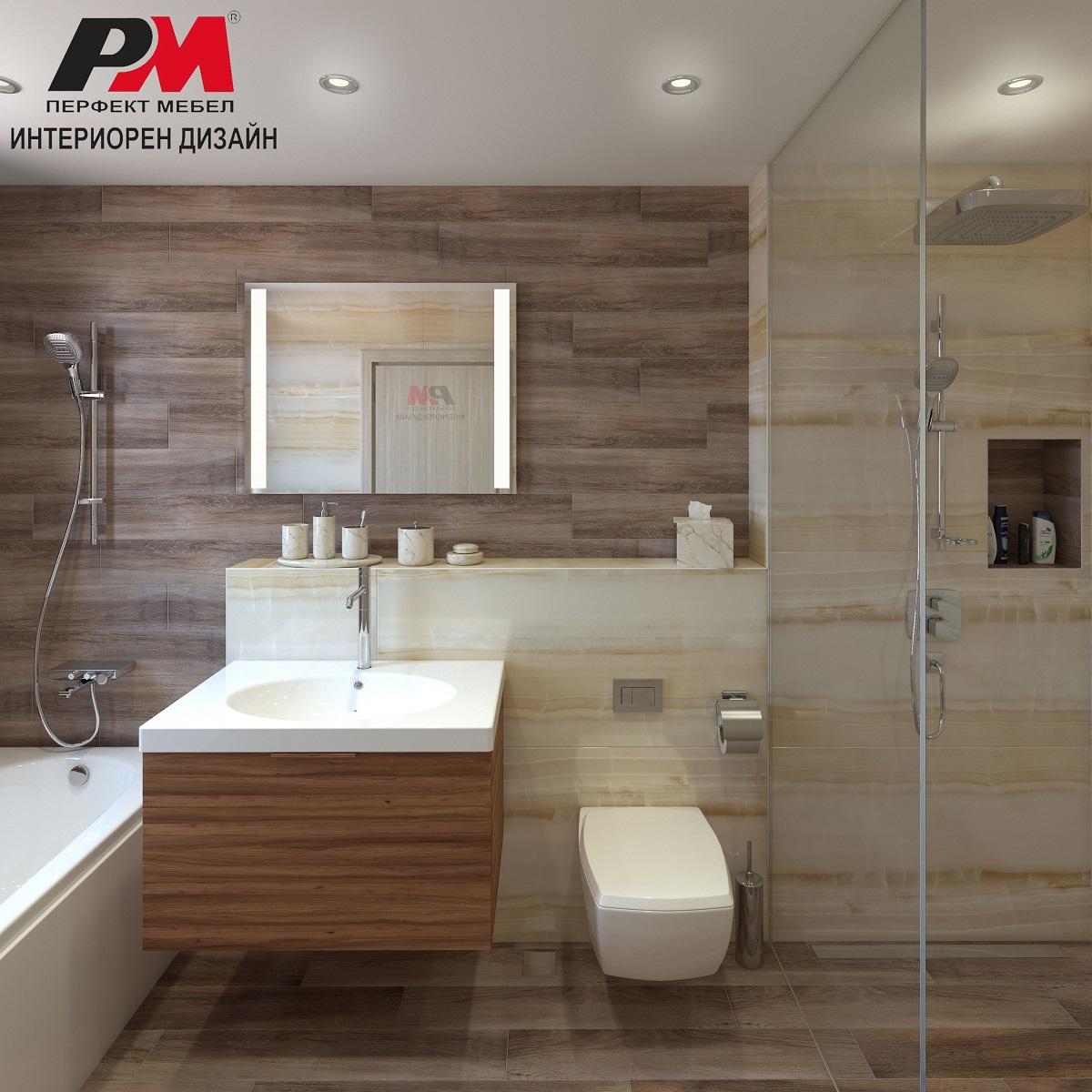 Дизайн проект на просторна баня в луксозни големи гланцирани плочки и дървесен декор