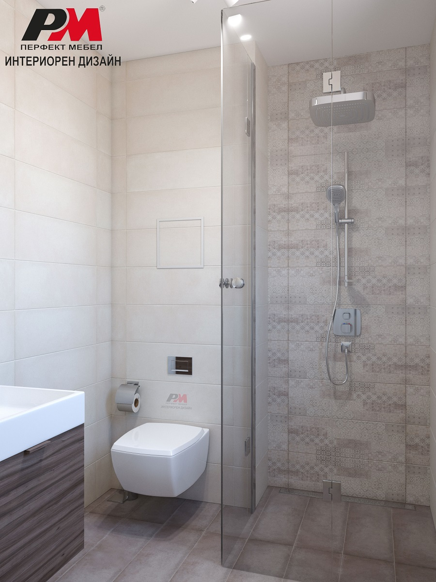 Луксозен интериорен дизайн на баня в меко и уютно звучене от светли пастелни цветове
