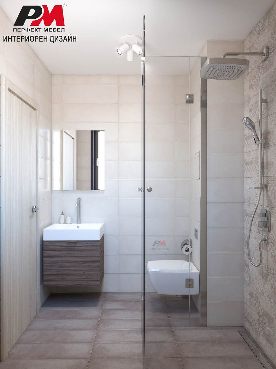Стилна съвременна баня в меки нежни тонове и дървесни акценти